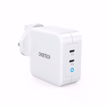 Picture of Choetech Choetech PD UK 100W USB-A/USB-C Dual Mains Charger in White (No Cable)